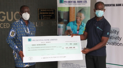 NMIMR Receives 100,000 Donation from Prudential Bank Limited